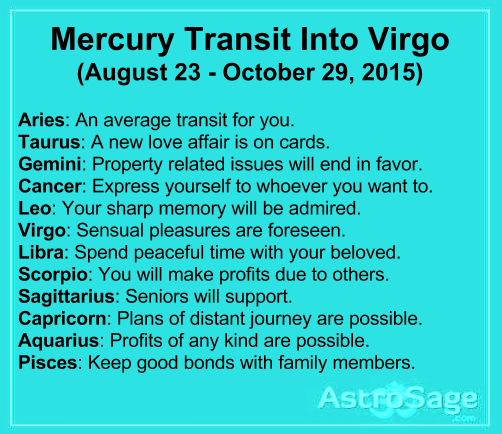 Mercury transit in Virgo will affect bring changes in your life.