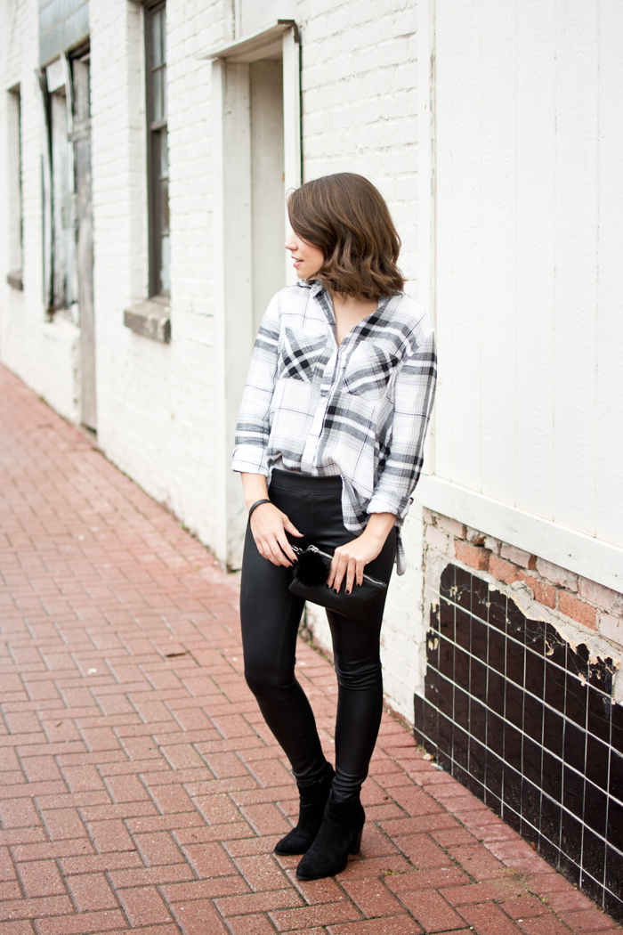 edgy fall outfit leather leggings