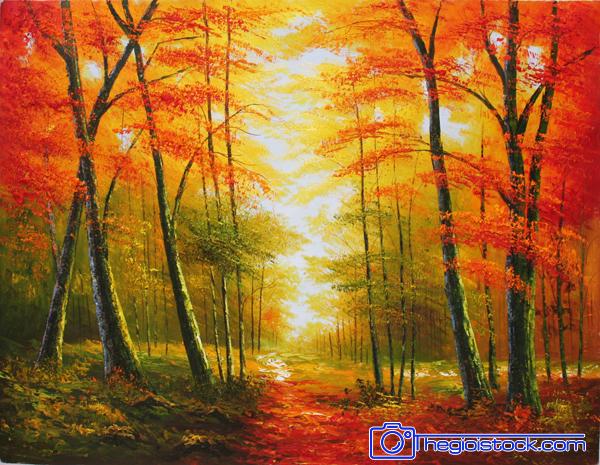 Tranh Dán Tường Phong Cảnh Rừng Lá Vàng