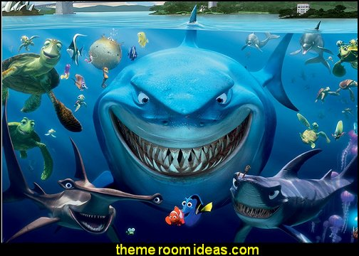 finding nemo mural  underwater bedroom ideas - mermaid bedroom decor - under the sea theme bedrooms - mermaid theme bedrooms - sea life bedrooms - Little mermaid princess Ariel - mermaid bedding - Disney's little mermaid - clamshell bed -  mermaid murals - mermaid wall decal stickers - Sponge Bob theme bedrooms -