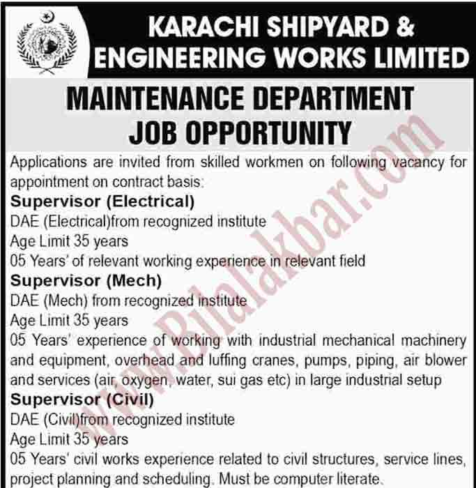 Engineering Jobs Opportunities in Maintenance Department Shipyard and Engineering works Limited