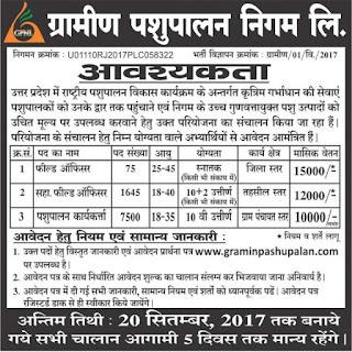 Uttarpradesh gramin pashupalan assistant field worker jobs notification