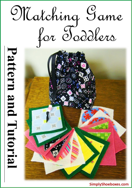 Matching game for toddlers DIY pattern and tutorial.  Designed to pack into an Operation Christmas Child shoebox.
