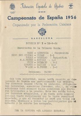 Primera página del Boletín nº 1 del Torneo del XXI Campeonato de España de Ajedrez 1956