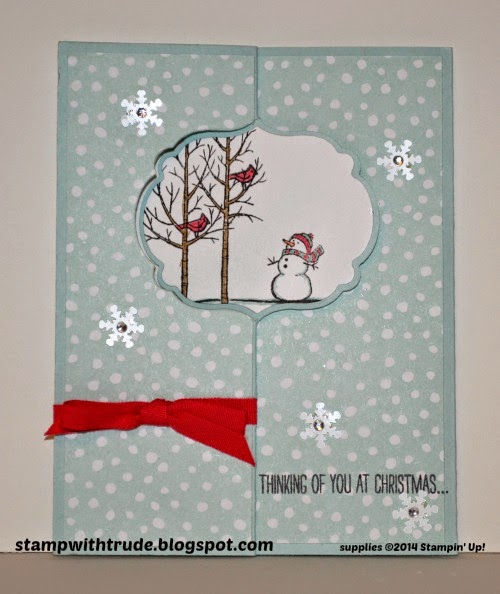 Christmas flip card, Stampin' Up!, Trude Thoman, stampwithtrude.blogspot.com , White Christmas, All is Calm