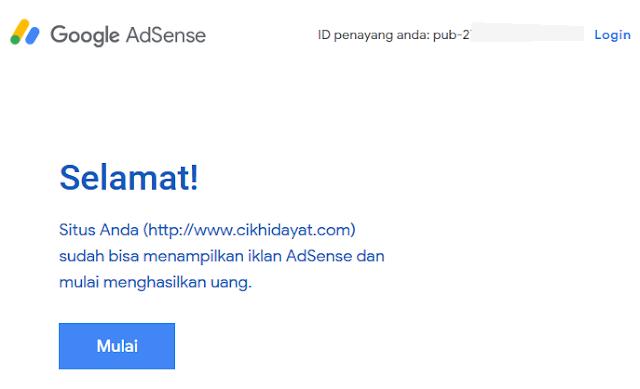 Email diterima adsense