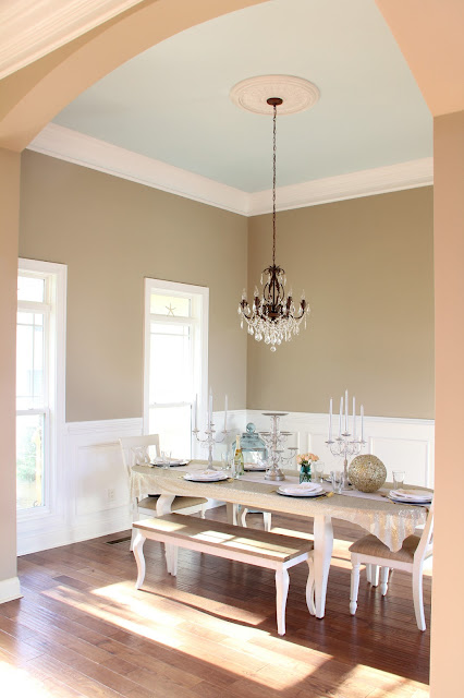 dining room paint color - Ivory Brown by Valspar, light blue ceiling
