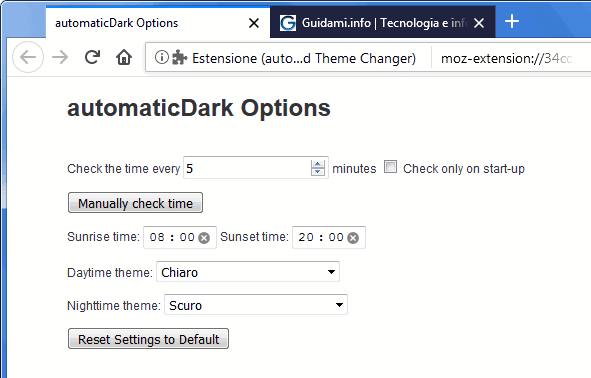 Opzioni addon Firefox automaticDark - Time-Based Theme Changer