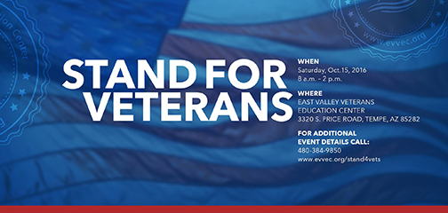 Poster for Stand for Veterans.  Details in blog.