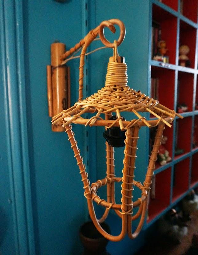 vintage mid century bamboo tiki lamp lantern 1950s 50s 1960s 60s