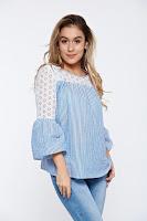 Bluza dama LaDonna albastra-deschis cu dungi casual din bumbac cu maneci clopot