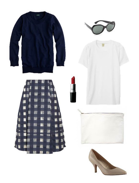 JCrew sweater, Marni skirt, Ray Ban sunglasses, Aldo heels, Claire Vivier clutch, MAC lipstick