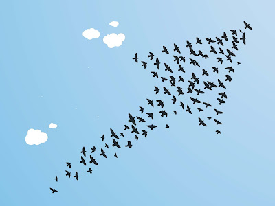 A flock of birds is silhouetted against a blue sky in the shape of an arrow