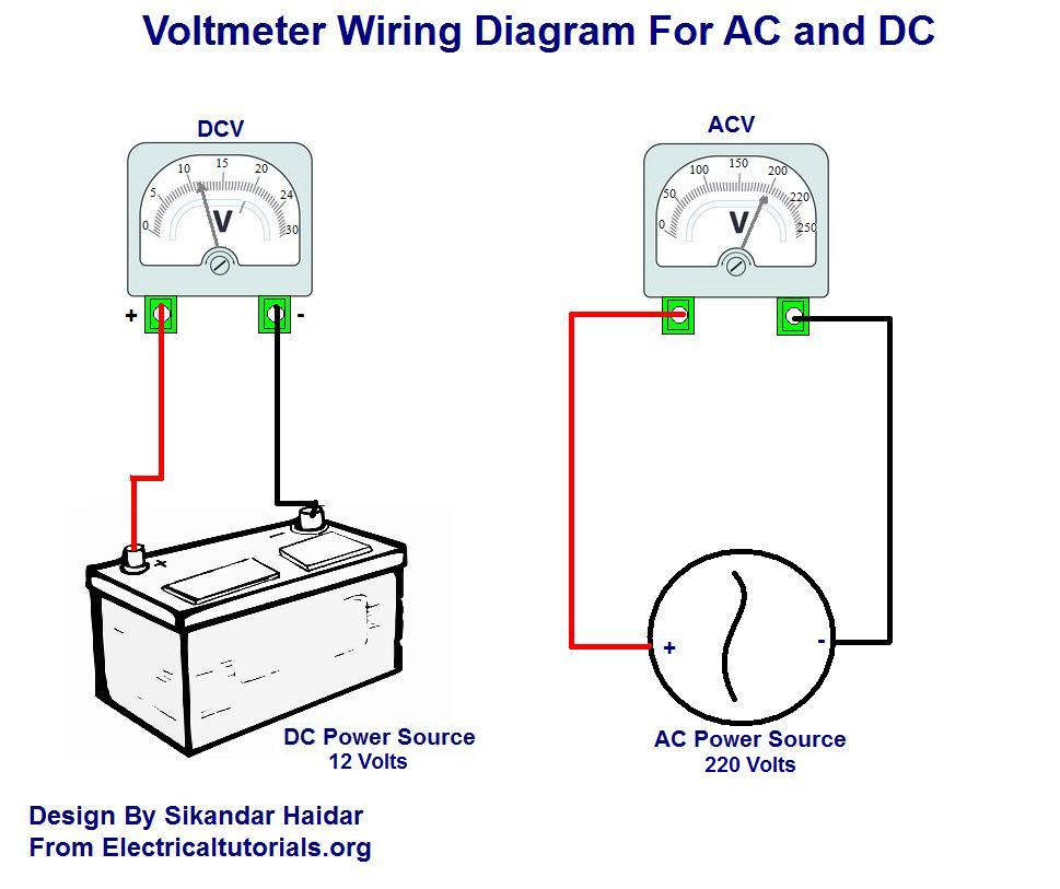 voltmeter%2Bwiring%2Bfor%2BDC%2Band%2BAC%2Bdiagram ac and dc voltmeter wiring diagram electrical tutorials urdu hindi car voltage meter wiring diagram at mifinder.co