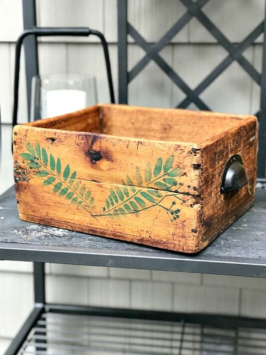 Stenciled Rustic Antique Crate with stencil