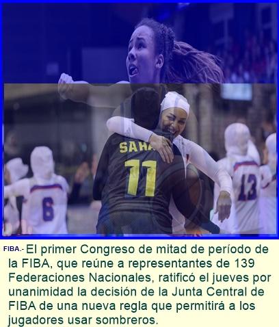 Congreso de la FIBA ratifica por unanimidad nueva regla en tocados.