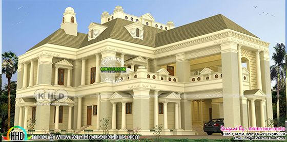 Super luxury 8 bedroom Colonial home plan