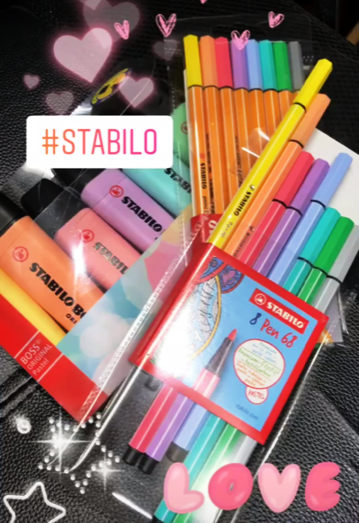 Stabilo Boss pastels in highlightighers, pens and fineliners