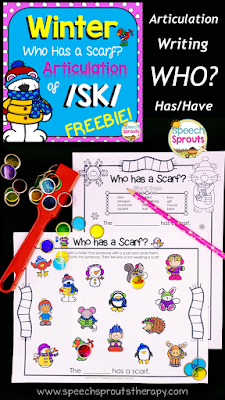FREE Winter Speech and Language Activity- Who Has a Scarf? S-Blend articulation practice and Who? questions too. www.speechsproutstherapy.com