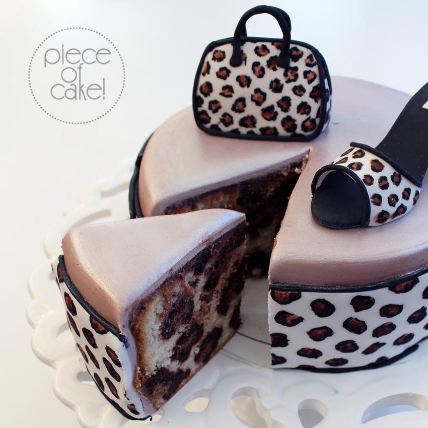 Pink And Black Cheetah Print Birthday Cake
