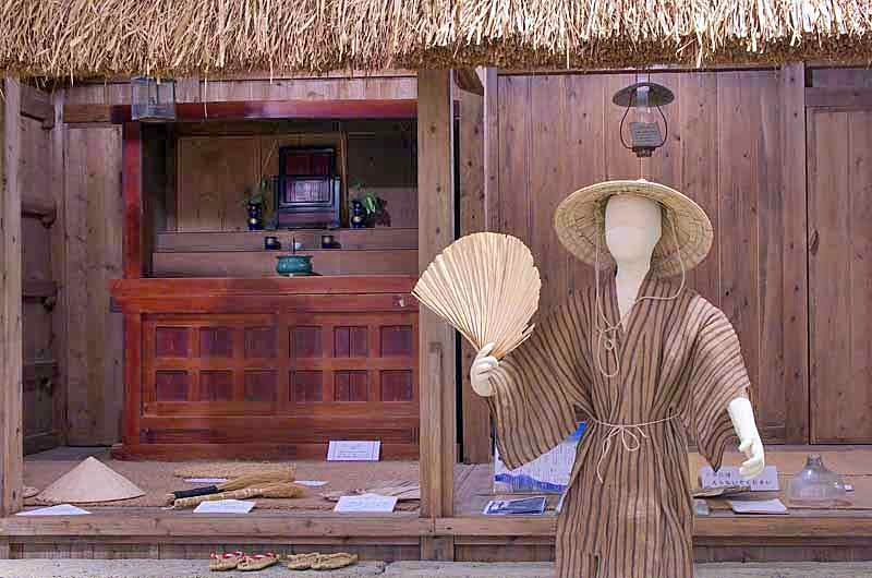 Museum,mannequin,Okinawa,straw-roofed house