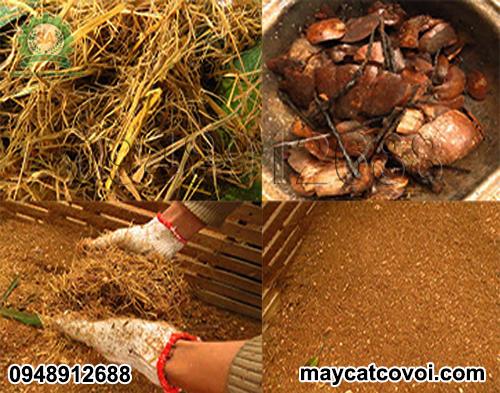 Rơm, xơ dừa được băm bằng Máy băm vỏ dừa, rơm rạ, ván bóc 3A3Kw