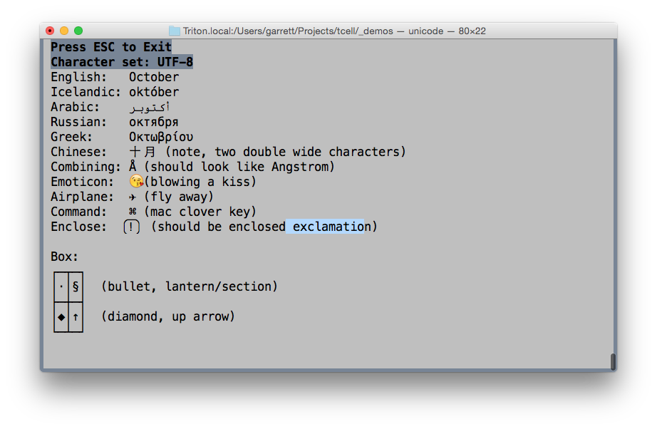 dev/dump: Fun with terminals, character sets, Unicode, and Go