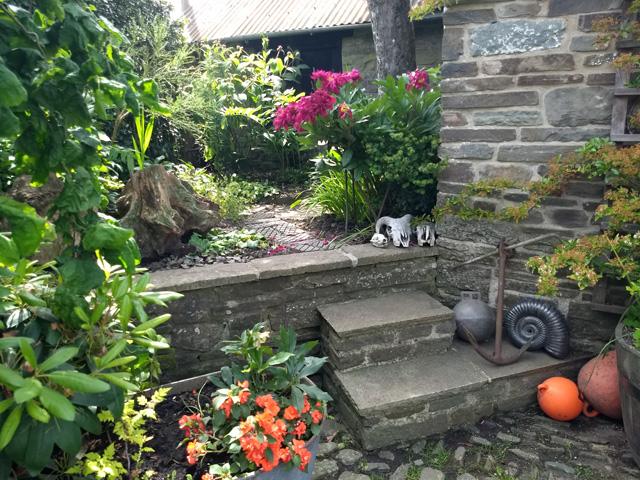 skulls in a garden