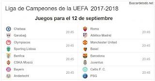1- Calendario de juegos de la Champions League 2017-2018. Juegos de la Champions League el 12 de septiembre 2017