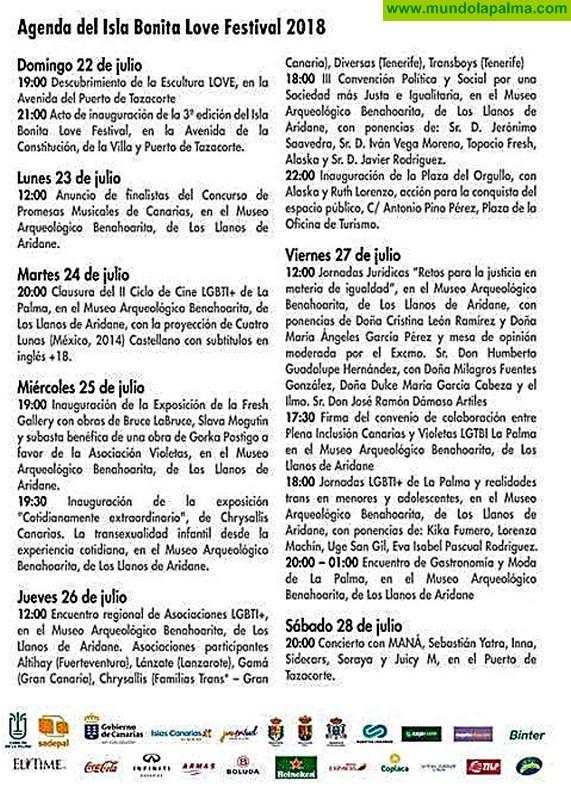 Agenda Social del Isla Bonita Love Festival 2018
