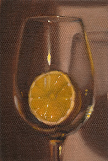 Oil painting of half a lemon in a wine glass.