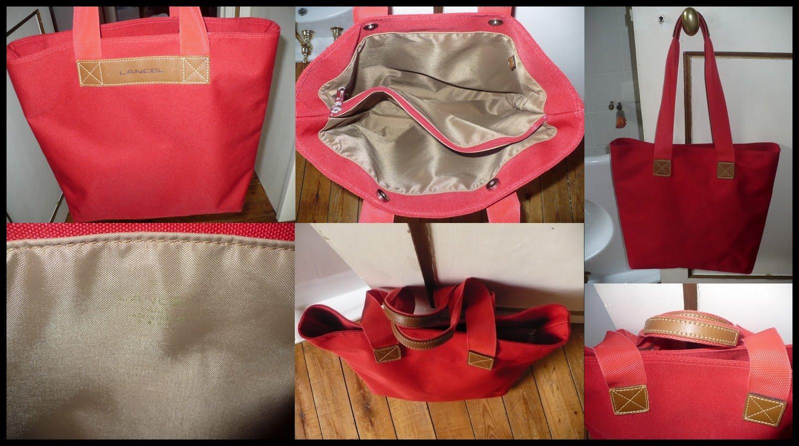 99bf119aeb Sac à main LANCEL de forme cabas en toile rouge et empiécements en  véritable cuir marron. La marque est inscrite sur le devant et à  l'intérieur ( 1ere ...