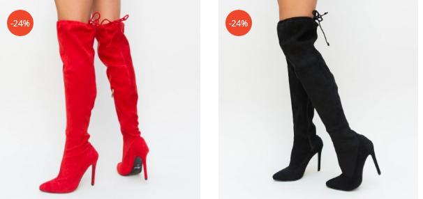 Cizme negre, rosii elegante cu toc inalt peste genunchi din piele eco intoarsa