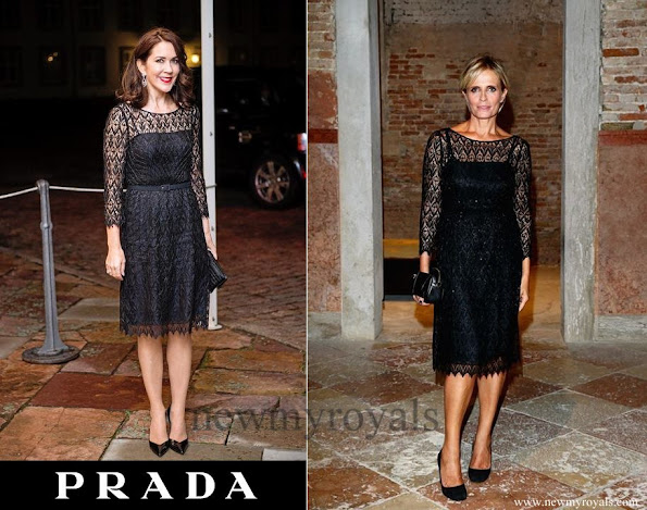 The Crown Princess wore Prada Black Lace Dress. Isabella Ferrari wear the same Prada Black Lace Dress at the Women's Tales Dinner