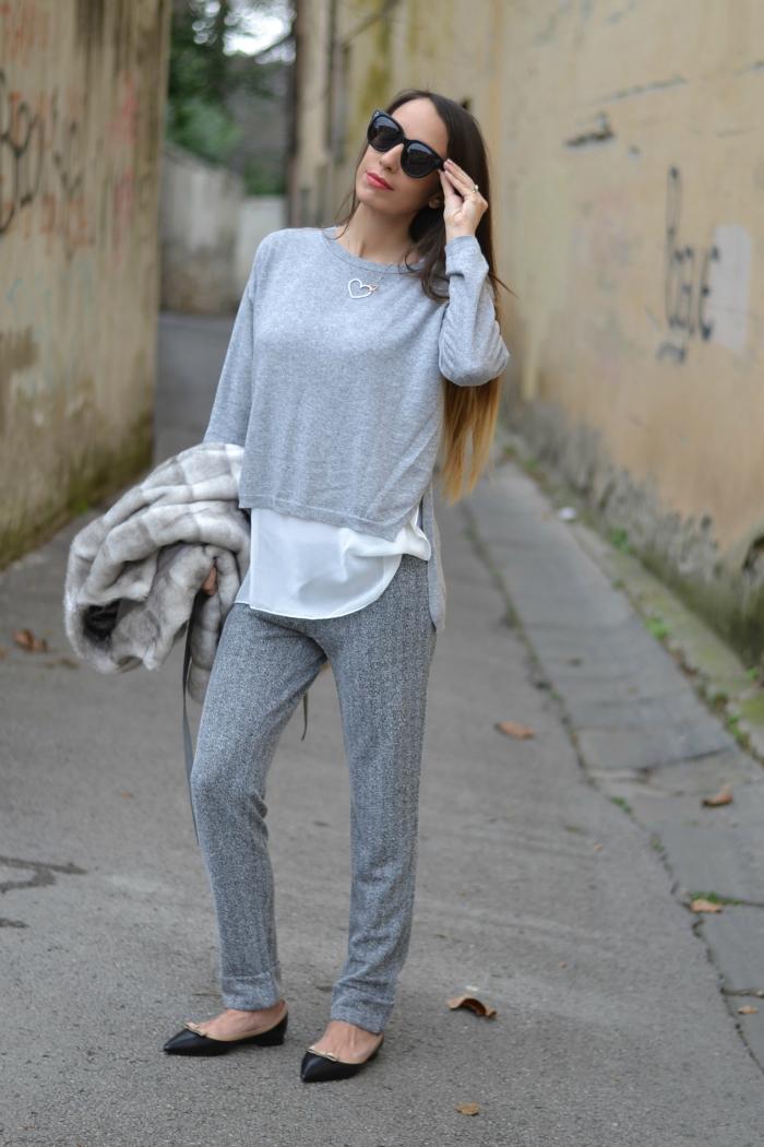 look grigio maglione pantaloni