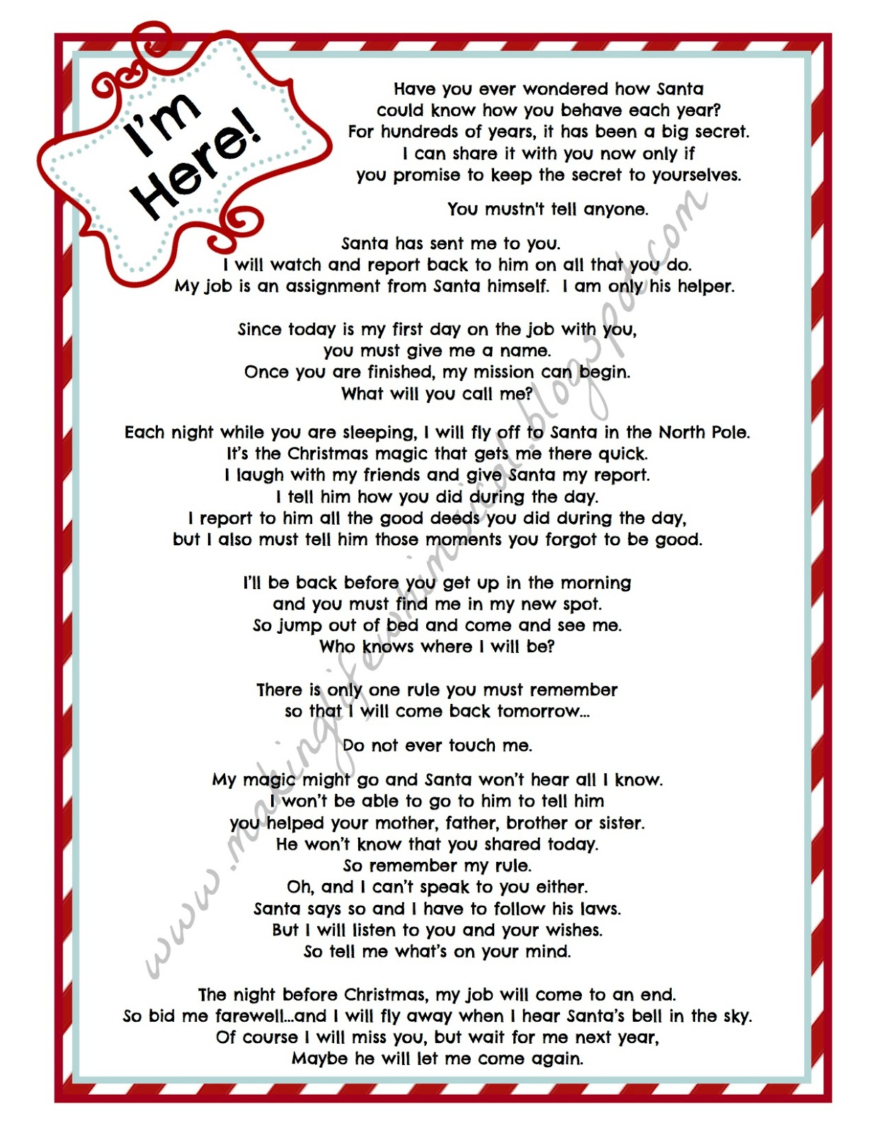 Elf On the Shelf Letters Printable Free