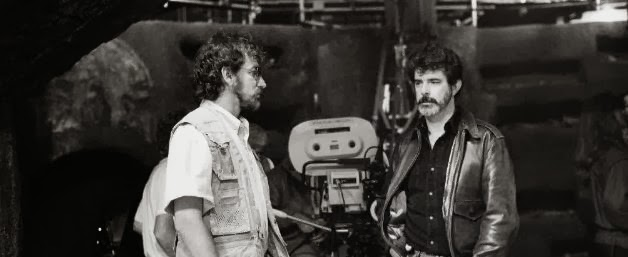 spielberg and lucas on a film set
