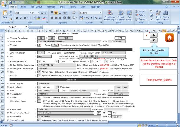 Aplikasi PPDB untuk SD SMP (Terbaru 2016-2017) Format Microsoft Excel