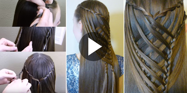 Learn - How To Create Criss Cross Waterfall Mermaid Braid Hairstyle, See Tutorial