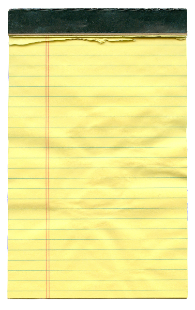 A yellow lined notepad, with black binding at the top and several sheets torn off, leaving a ragged edge.