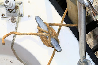 Never board a boat without a cleated off ladder! Sailing HideAway