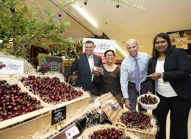 The beautiful Northwest Cherries display at Jasons Food Hall