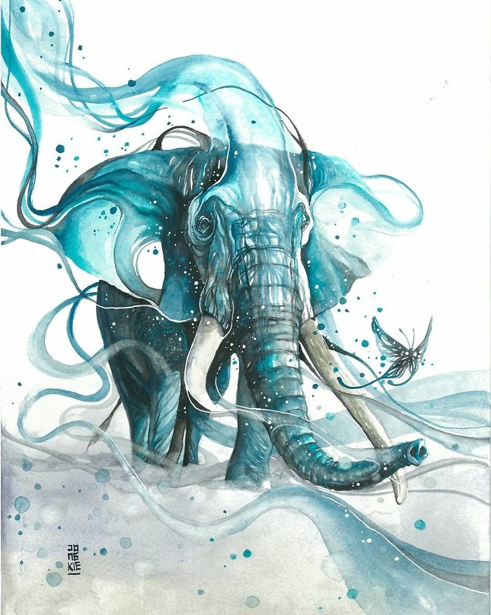 11-Elephant-and-Butterflie-Jongkie-art-Luqman-Reza-Mulyono-Vibrant-Fantasy-Watercolor-Animal-Paintings-www-designstack-co