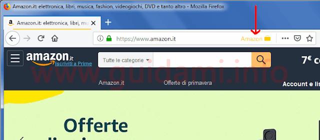 Firefox icona di Amazon Container nella barra degli indirizzi internet