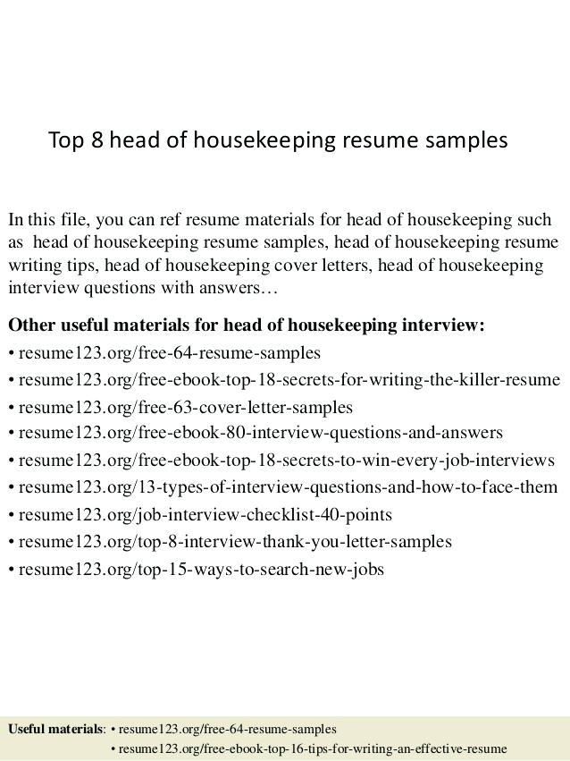 Resume examples housekeeping hospital Jobs - Resume Templates