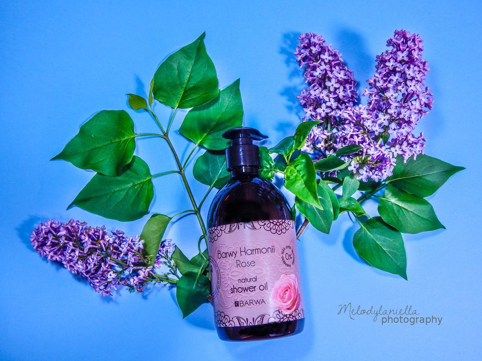 różany olejek pod prysznic rose oil barwa kosmetyki sto procent natury naturalne kosmetyki shower oil kosmetyki naturalne barwy natury barwy harmonii