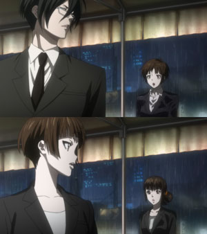 Tsunemori Akane 常守朱, Ginoza Nobuchika 宜野座伸元, and Shimotsuki Mika 霜月美佳 from Psycho-Pass, senpai and kouhai.