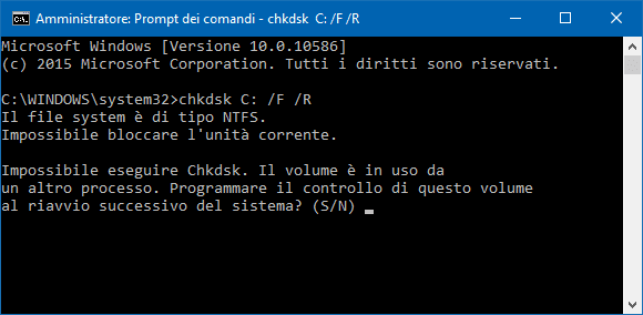 Eseguire chkdsk da prompt comandi di Windows