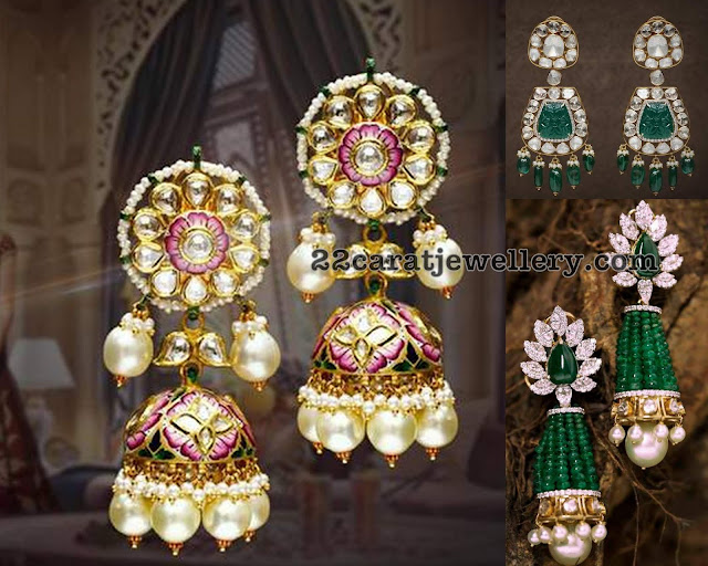 Diamond Emerald Jhumkas by Neetti