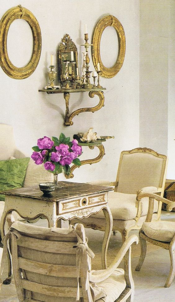 French antiques and Old World style in a space designed by Pamela Pierce.